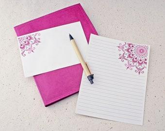 Letter Writing Set Pink Mandala / Pink Stationery Set / Recycled Stationery Set / Bohemian Stationery Set / pretty writing paper / notepaper