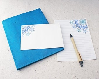 Letter Writing Set Turquoise Mandala / blue Stationery Set / Recycled Stationery / Bohemian Stationery Set / writing paper / notepaper set