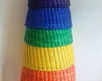 Hand woven Rainbow Nesting Baskets / Rainbow baskets / crafts storage / Toys Storage / Rainbow Nesting Bowls