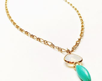 Opalite necklace / opal necklace / moonstone necklace / boho necklace / bohemian necklace / turquoise necklace