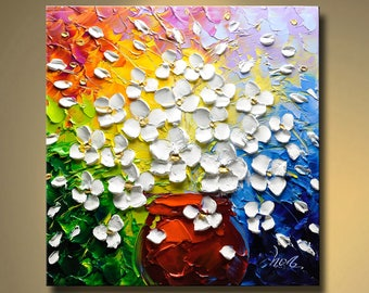 contemporary wall art,Palette Knife Painting,colorful Flower painting,wall decor ,Home Decor,Acrylic Textured Painting ON Canvas by Chen Q04