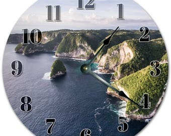 """10.5"""" SEA MOUNTAINS VIEW Clock - Living Room Clock - Large 10.5"""" Wall Clock - Home Décor Clock - 5128"""