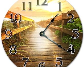 "10.5"" WAY to the BEACH Clock - Living Room Clock - Large 10.5"" Wall Clock - Home Décor Clock - 5134"