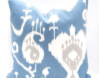 15% Off Sale Blue Pillow Cover, Ikat Pillow, Decorative Pillow, Blue Pillow , Cushion Cover Blue Pillow Case Ikat Pillows 18x18 Pillow Cover