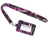 Muddy Girl Camo ID lanyard - ID holder with lanyard - Student ID wallet - id Badge Holder - id Wallet