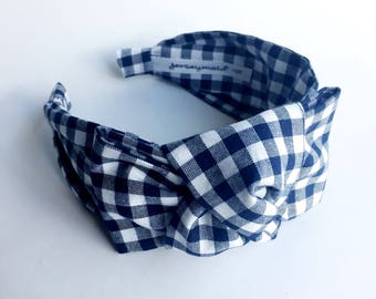 Headbands for women Gingham headband Women's Fabric Headband side knot topknot bow navy blue  . Adult headband woman Woman . Head band