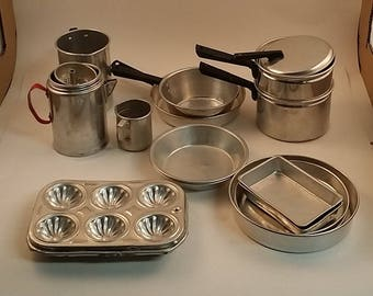 Vintage Child's Aluminum Tin Cooking Pots, and Baking Pans --17 pieces -- Double Boiler, Muffin Tins, Cake Pans, Coffee Pot (no lid)