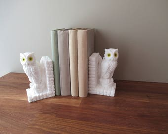 Vintage Salt Stone Owl Bookends & Paperweight, Office Decor, Retro Owl Decor