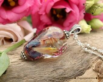Underwater  - pendant Beads lampwork artisan implosion sea - silvering