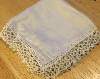 White Linen Hankie with Double Tatted Edging