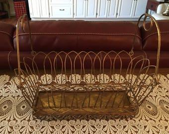 Vintage Metal Wire Basket, Antique Gold Tone, Vintage Basket With Handles