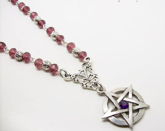 Pentagram Necklace, Crystal beaded necklace, Pagan Necklace, Wicca, Pentacle Necklace