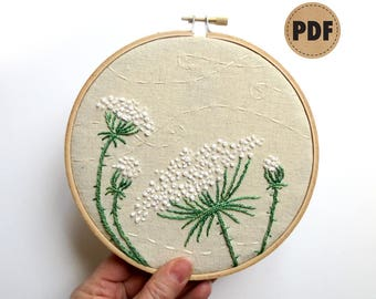 Queen Annes Lace, PDF Embroidery Pattern, DIY Crafts, Farmhouse Decor, Neutral Wall Art, Rustic Home Decor, Hand Embroidery Hoop Wall Art