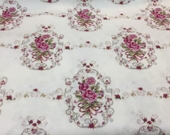 Quilting Cotton, French Scrolled Roses Fabric, Robin Mynatt for Paris Bebe Fabrics