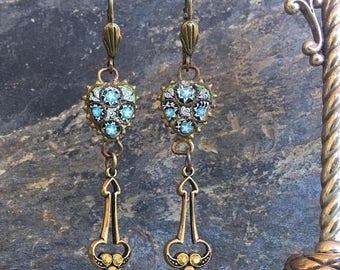 1stDayofSummerSALE Heart Micro Mosaic Earrings 1920 1930 Vintage Bohemian Romantic Bridal Renaissance Jewelry
