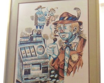 ON SALE Vintage George Crionas S/N Stone Lithograph Limited Edition #149/200 Jackpot, Clown Playing Slot Machine, Professionally Framed, Rar