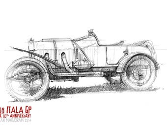 1908 Itala GP - Original A3 Pencil Sketch