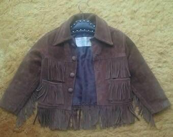 Adorable Kids Vintage Brown Davy Crockett cowboy Suede 60's / 70's Fringe Jacket! ***FREE SHIPPING***