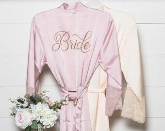 Bridal Robe - Satin & Lace Robe - Bride Robe - Bridesmaid Robes - Bridesmaid Gift