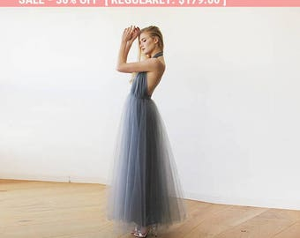Dark Grey Halter and Tulle Maxi Gown 1121