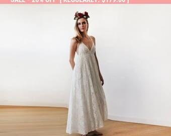 Beach wedding gown, Maxi Lace V-neck beach wedding dress, Minimalist maxi lace bridal gown 1140