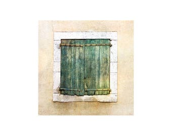 Green Shutters Photo, Rustic Decor, Windows and Doors, Weathered Shutters, South of France