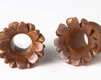 pair plum wood carved lotus flower gauged earring plugs 0 gauge 0g 1