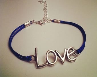 Blue cord bracelet with LOVE silver