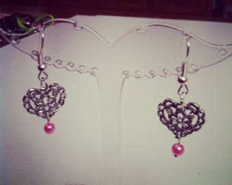 Earrings hearts with pink beads