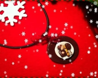 Chocolate Christmas ref 148 plate pendant necklace
