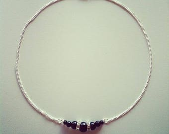 Silver necklace black beads and rhinestones