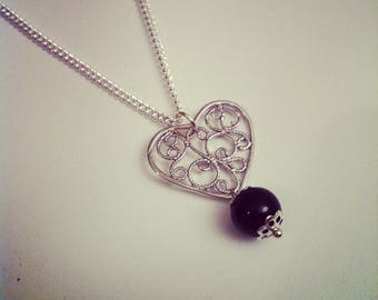Heart lace with Black Pearl pendant necklace