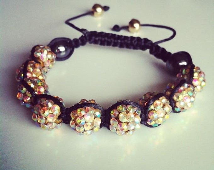 Bracelet Shamballa adjustable Golden iridescent #34