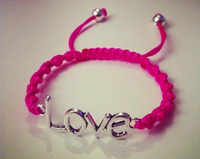 LOVE neon pink adjustable spiral Shamballa bracelet
