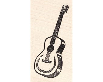 Guitar 771E Beeswax Rubber Stamps Unmounted, Cling, Mounted Stamp Collage Stamping