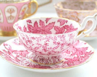 WIDE MOUTH, Vintage Tea Cup and Saucer by Coalport, English Bone China, Wedding Gift or Bridal Shower Inpsiration, Gifts for Her