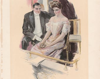 Antique Victorian Art Print-Book Plate-Lithograph- Couple At the Theater-Artist Signed Howard Chandler Christy 1905