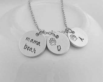 mama bear - Mom Jewelry - Hand Stamped Mom Necklace with Bear Paw Initial Charms - Mother's Day Gift - New Mom - Gift for Mom - Push Gift