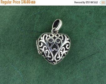 12% OFF SALE Sterling Silver Heart Locket - Pendant - Free Shipping