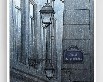 30% OFF SALE: Quai Saint Michel (grey version) - Paris illustration Art Illustration Print Poster Paris decor Home decor Facade Windows Pari