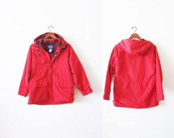 Vintage Windbreaker / Woolrich Jacket / 60 40 Jacket / Plaid Lined Jacket / Camping Jacket / Hiking Jacket / Red Windbreaker / Hooded