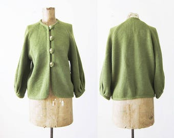 vintage 60s cardigan - womens green cardigan sweater - 1960s clothing - avocado green knit sweater - poet sleeve - boho cardigan - S M