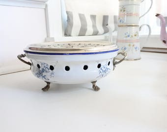 Antique French Enamelware Coffee Pot Warmer by Japy Freres, c. 1890, White with Blue Floral Pattern, Kitchen Decor, Christmas Gift