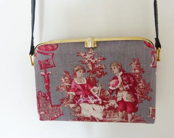 French toile de jouy and leather handbag