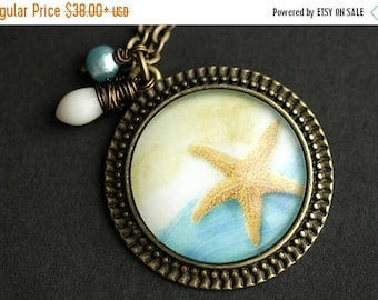 BACK to SCHOOL SALE Beach Necklace. Starfish Pendant. Sea Star Necklace with White Coral Teardrop and Aqua Fresh Water Pearl. Beach Pendant.