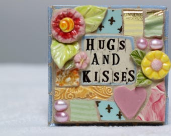 HUGS AND KISSES,  mosaic wall art, gift