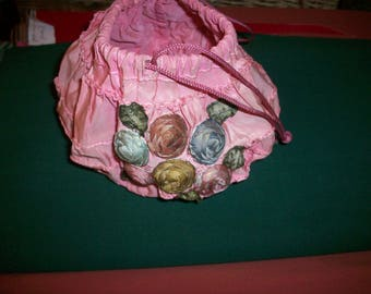 Breathtaking antique authentic ribbon work on a pink bag 1920