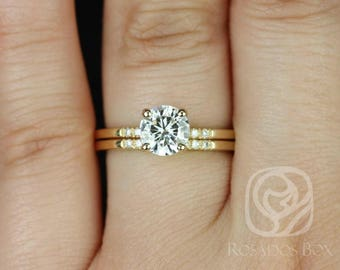 Rosados Box Gigi 6.5mm 14kt Yellow Gold Round F1- Moissanite and Diamonds Short-Stop Classic Non-Cathedral Wedding Set