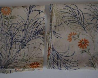 Chirimen silk fabric remnants;  vintage Japanese kimono fabric #17