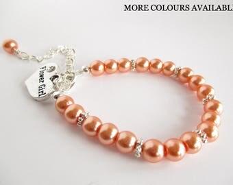 Coral Flower Girl Bracelet, Flower Girl Gift, Coral Jewelry, Flower Girl Jewelry, Girls Pearl Bracelet, Wedding Bracelet Gift, Coral Wedding